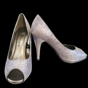 Candy Couture Silver Glitter Peep Toe Heels Pumps